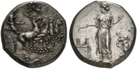 Sicily, Himera, Tetradrachm signed by MAI, ca. 409-407 BC; AR (g 17,60, mm 28; h 10); The nymph Himera driving galloping quadriga r.; Nike flying l. a...