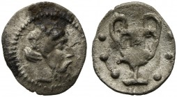 Sicily, Naxos, Hemilitron, ca. 461-430 BC; AR (g 0,25; mm 8; h 6); Wreathed and bearded head of Dionysos r. Rv. Kantharos; six pellets around. Cahn 97...