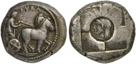 Sicily, Syracuse, Tetradrachm under the First Democracy, ca. 530-510 BC; AR (g 17,43; mm 25; h 12); Slow quadriga driven r. by clean-shaven charioteer...