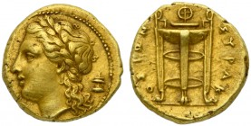 Sicily, Syracuse, 50 Litrai under tyrant Agathokles, ca. 310-304 BC; EL (g 3,67; mm 15; h 9); Laureate head of Apollo l.; behind, altar, Rv. ΣΥΡΑΚ - Ο...