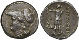 Sicily, Syracuse, 12 Litrae under the Fifth Democracy, 214-212 BC; AR (g 10,14; mm 23); Helmeted head of Athena to l., Rv. Artemis standing l., wearin...
