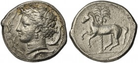 The Carthaginians in the Mediterranean, Sicily, Uncertain mint, Tetradrachm, ca. 350-320 BC; AR (g 17,44; mm 22; h 6); Head of Tanit l.; around, four ...