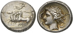 The Carthaginians in the Mediterranean, Sicily, Panormos as Ziz, Tetradrachm, ca. 340-320 BC; AR (g 16,67; mm 26; h 6); Fast quadriga l., driven by a ...