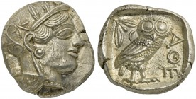 Attica, Athens, Tetradrachm, after 449 BC; AR (g 17,23; mm 25; h 9); Head of Athena r., wearing crested Attic helmet decorated with three olive leaves...