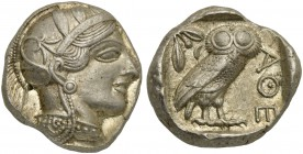 Attica, Athens, Tetradrachm, after 449 BC; AR (g 17,23; mm 24; h 4); Head of Athena r., wearing crested Attic helmet decorated with three olive leaves...