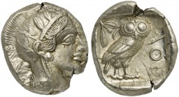 Attica, Athens, Tetradrachm, after 449 BC; AR (g 17,12; mm 25; h 6); Head of Athena r., wearing crested Attic helmet decorated with three olive leaves...