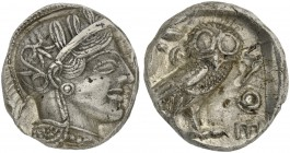 Attica, Athens, Tetradrachm, after 449 BC; AR (g 17,08; mm 22; h 6); Head of Athena r., wearing crested Attic helmet decorated with three olive leaves...