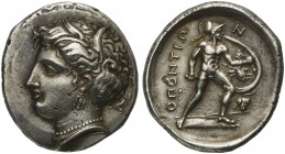 Locris, Locri Opuntii, Stater, ca. 369-338 BC; AR (g 12,21; mm 26; h 12); Head of Demeter l., Rv. OΠONTIΩ - N, Ajax (son of Oillus), advancing r., hol...