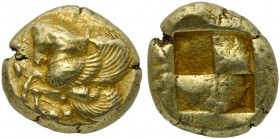 Mysia, Lampsakos, Stater, ca. 500-450 BC; EL (g 15,28; mm 20; h /); Forepart of Pegasos l.; around, grape branches Rv. Incuse square. SNG Cophenagen. ...