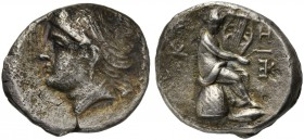 Mysia, Kyzikos, Tetradrachm, ca. 300 BC; AR (g 10,48; mm 23; h 12); Head of Kore-Soteira l., wearing pendant earring, necklace, sphendone and wreath o...