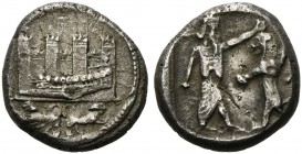 Phoenicia, Sidon, 1/2 Shekel, ca. 450-435 BC; AR (g 6,76; mm 18; h 12); Phoenician galley sailing l.; before, city walls with four towers; in exergue,...