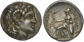 Kings of Thrace, Ainos, Tetradrachm under Lysimachos, ca. 305-281 BC; AR (g 17.04; mm 26; h 3); Diademed head of deified Alexander r., with the horn o...