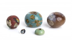 Group of five Egyptian Beads