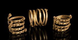 Group of three Etruscan Gold Spiral Rings