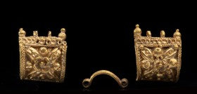 Pair of Etruscan Gold miniature Bauletto Earrings 