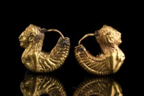 Pair of Etruscan Gold siren-Shaped Earrings