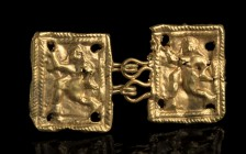 Etruscan Gold Belt Hook depicting a dancer