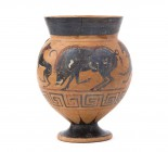Etruscan Black-Figure Cup With Animals Frieze
