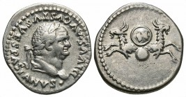 Divus Vespasian, Issue by Titus, 80 - 81 AD, Silver Denarius, Capricorns