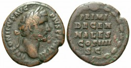 Antoninus Pius, 138 - 161 AD, AE As, Five Line Inscription
