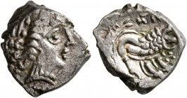 CELTIC, Southern Gaul. Insubres. Late 2nd-early 1st century BC. Drachm (Silver, 16 mm, 3.50 g, 2 h), imitating Massalia. Female head to right, wearing...
