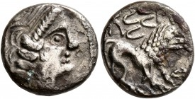 CELTIC, Southern Gaul. Insubres. Late 2nd-early 1st century BC. Drachm (Silver, 14 mm, 2.67 g, 3 h), imitating Massalia. Female head to right. Rev. MA...