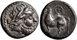 CELTIC, Middle Danube. Uncertain tribe. 2nd-1st centuries BC. Drachm (Silver, 14 mm, 2.26 g, 11 h), 'Kugelwange' type. Laureate head of Zeus to right....
