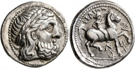 CELTIC, Lower Danube. Uncertain tribe. Circa late 4th-3rd centuries BC. Tetradrachm (Silver, 26 mm, 14.32 g, 2 h), imitating Philip II of Macedon. Lau...
