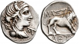 GAUL. Massalia. Circa 90-50 BC. Tetrobol (Silver, 16 mm, 2.58 g, 6 h). Draped bust of Artemis to right, wearing stephane, bow and quiver over shoulder...