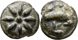 APULIA. Luceria. Circa 217-212 BC. Aes Grave Teruncius (Bronze, 28 mm, 24.04 g). Star of eight rays on a raised disk. Rev. Dolphin swimming right; abo...
