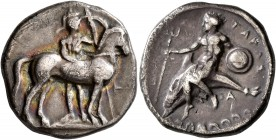 CALABRIA. Tarentum. Circa 344-340 BC. Didrachm or Nomos (Silver, 21 mm, 7.57 g, 3 h). Warrior, helmeted and holding spear and shield, standing facing,...