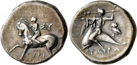 CALABRIA. Tarentum. Circa 302-280 BC. Didrachm or Nomos (Silver, 20 mm, 6.45 g, 7 h), Sy... and Lykinos, magistrates. ΣY - ΛYKI/NOΣ Nude youth riding ...