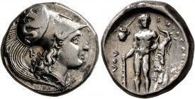 LUCANIA. Herakleia. Circa 330/25-281 BC. Didrachm or Nomos (Silver, 20 mm, 7.93 g, 9 h). Head of Athena to right, wearing Corinthian helmet decorated ...