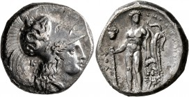 LUCANIA. Herakleia. Circa 330/25-281 BC. Didrachm or Nomos (Silver, 20 mm, 7.38 g, 11 h). Head of Athena to right, wearing Corinthian helmet decorated...