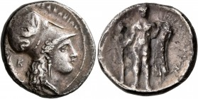 LUCANIA. Herakleia. Circa 330/25-281 BC. Didrachm (Silver, 21 mm, 7.14 g, 5 h). HPAKΛEIΩN Head of Athena to right, wearing Corinthian helmet decorated...