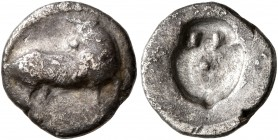 LUCANIA. Sybaris. Circa 510-475 BC. Triobol (Silver, 11 mm, 0.95 g). Bull standing right, head reverted. Rev. Incuse amphora. HN Italy 1741. SNG ANS 8...