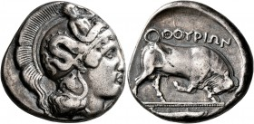 LUCANIA. Thourioi. Circa 400-350 BC. Distater (Silver, 25 mm, 15.53 g, 4 h). Head of Athena to right, wearing helmet adorned, on the bowl, with Skylla...