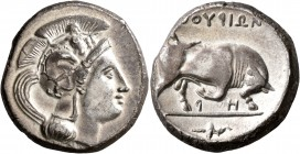 LUCANIA. Thourioi. Circa 350-300 BC. Distater (Silver, 25 mm, 15.72 g, 5 h). Head of Athena to right, wearing crested Attic helmet adorned, on the bow...