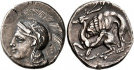 LUCANIA. Velia. Circa 280 BC. Didrachm (Silver, 21 mm, 7.05 g, 12 h). Head of Athena to left, wearing crested Attic helmet adorned with Pegasus; above...