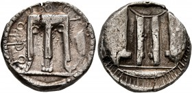 BRUTTIUM. Kroton. Circa 480-430 BC. Stater (Silver, 19 mm, 7.85 g, 11 h). OPϘ Tripod with three handles, ornamental volutes in the form of pellets bel...