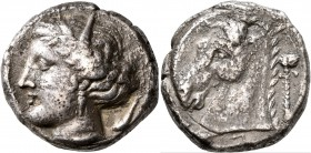 SICILY. Entella (?). Punic issues, circa 320/15-300 BC. Tetradrachm (Silver, 24 mm, 16.35 g, 2 h). Head of Tanit-Persephone to left, wearing wreath of...