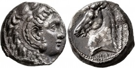 SICILY. Entella (?). Punic issues, circa 300-289 BC. Tetradrachm (Silver, 24 mm, 16.64 g, 3 h). Head of Herakles-Melqart to right, wearing lion skin h...