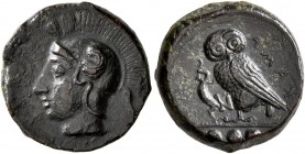 SICILY. Kamarina. Circa 420-405 BC. Tetras or Trionkion (Bronze, 15 mm, 3.38 g, 2 h). Head of Athena to left, wearing crested Attic helmet. Rev. KAMA ...
