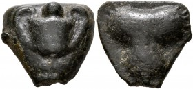 SICILY. Selinos. Circa 450-440 BC. Cast Onkia (Bronze, 15 mm, 4.01 g). Kantharos with pellet (mark of value) above. Rev. Selinon leaf. CNS 10. Price, ...