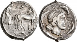SICILY. Syracuse. Second Democracy, 466-405 BC. Tetradrachm (Silver, 25 mm, 17.34 g, 7 h), circa 450-440. Charioteer driving quadriga walking to right...