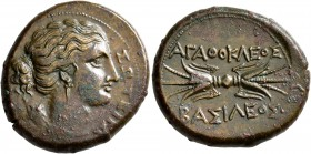 SICILY. Syracuse. Agathokles, 317-289 BC. Litra (Bronze, 24 mm, 10.55 g, 2 h), circa 304-289. ΣΩTEIPA Draped bust of Artemis Soteira to right, quiver ...