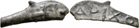 SKYTHIA. Olbia. Circa 437-410 BC. Cast unit (Bronze, 11x34 mm, 2.56 g). Dolphin right. Rev. APIXO on blank surface. SNG Stancomb 341. Light deposits, ...