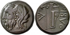 SKYTHIA. Olbia. Circa 310-280 BC. AE (Bronze, 21 mm, 10.26 g, 12 h). Horned head of the river-god Borysthenes to left. Rev. OΛBIO Axe and bow in bowca...