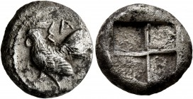 THRACE. Selymbria. Circa 492/0-473/0 BC. Octobol (Silver, 15 mm, 4.79 g). ΣA Rooster standing left. Rev. Quadripartite incuse square. Schönert-Ge...