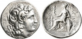KINGS OF THRACE. Lysimachos, 305-281 BC. Drachm (Silver, 18 mm, 4.22 g, 6 h), Ephesos, circa 294-287. Diademed head of Alexander the Great to right wi...